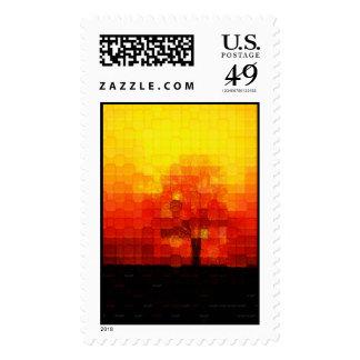 Burning Tree Postage Stamp