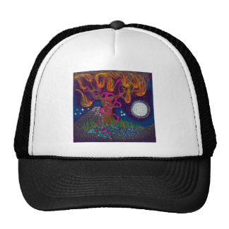 Burning Tree with Moon and Ribbon Trucker Hat