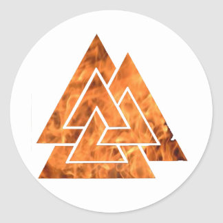 Burning Valknut Classic Round Sticker