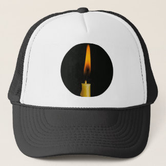 Burning wax candle trucker hat