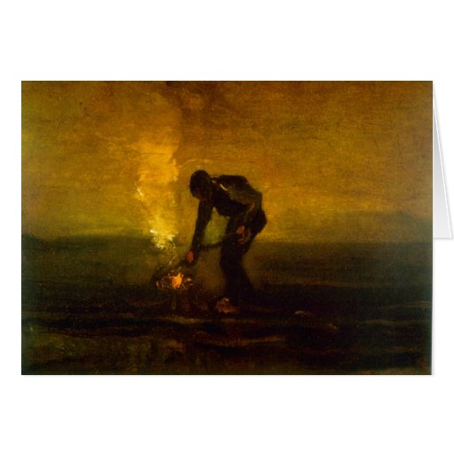 Burning Weeds by Vincent van Gogh Greeting Cards