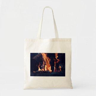 Burning wood budget tote bag
