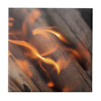 Burning wood branches ceramic tile