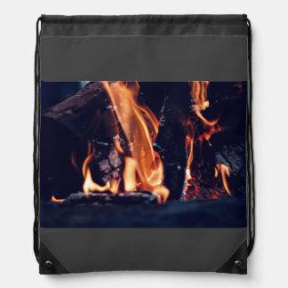 Burning wood drawstring backpack