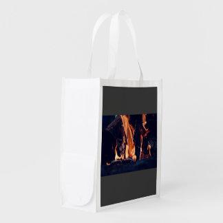 Burning wood reusable grocery bag