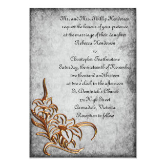 Burnished Gold on Antique Grey Wedding Custom Announcements