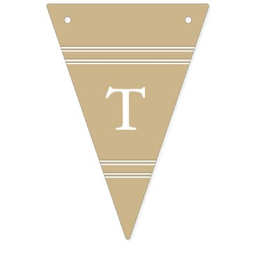 Beach Themed Burnished Matte Gold Wedding Bunting Flags