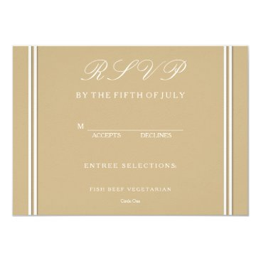 Beach Themed Burnished Matte Gold Wedding Card