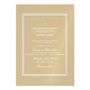 Beach Themed Burnished Matte Gold Wedding Magnetic Card