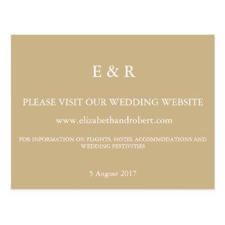 Burnished Matte Gold Wedding Postcard