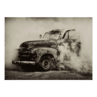 Burnout Vintage Truck Poster