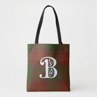 Burns Clan Tartan Monogram Tote Bag