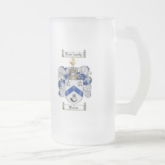 BURNS FAMILY CREST -  BURNS COAT OF ARMS FROSTED GLASS BEER MUG