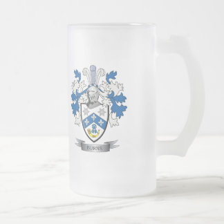 Burns Family Crest Coat of Arms Frosted Glass Beer Mug