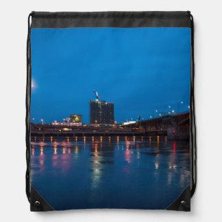 Burnside Bridge at Night, Portland Drawstring Backpack