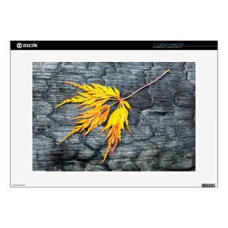"""Burnt black wood with yellow leaf 15"""" laptop decal"""