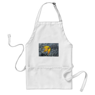 Burnt black wood with yellow leaf adult apron