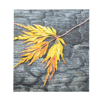 Burnt black wood with yellow leaf notepad