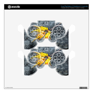 Burnt black wood with yellow leaf PS3 controller decals