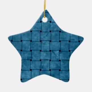Burnt Blue Weave Ceramic Ornament
