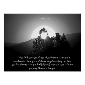 Burnt by a moonbeam with Irish Blessing Poster