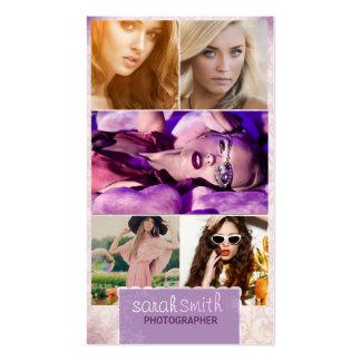 Burnt Edges Five Picture Business Card : Lilac