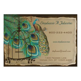 Burnt Edges Vintage Peacock Feathers Birdcage Large Business Cards (Pack Of 100)