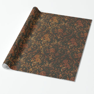 Burnt Gold Steampunk Goth Damask Wrapping Paper