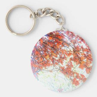 Burnt Ochre Pastels Tree Basic Round Button Keychain