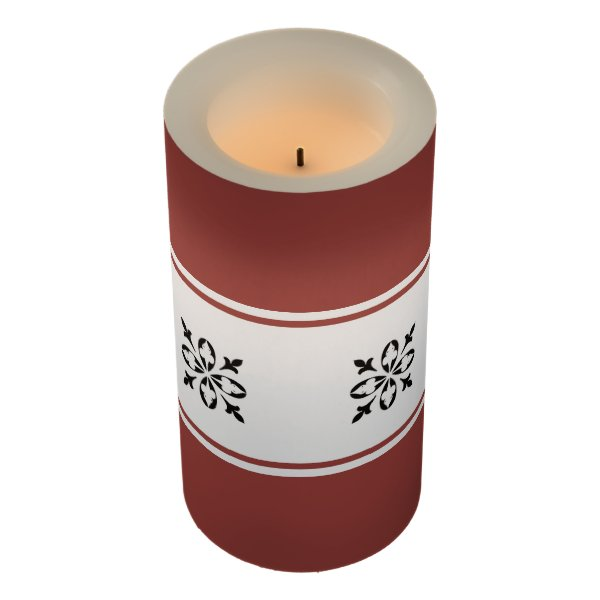 Burnt ombre background with damask pattern wrap flameless candle