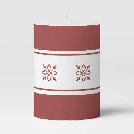 Burnt ombre background with damask pattern wrap pillar candle