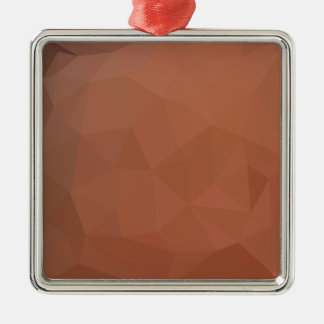 Burnt Orange Abstract Low Polygon Background Metal Ornament