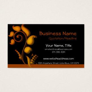 Burnt Orange Accent on Black Business Cards