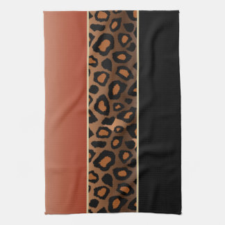 Burnt Orange and Black Leopard Animal Print Hand Towels
