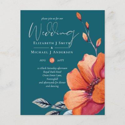 Burnt Orange and Dark Teal Wedding Invites BUDGET