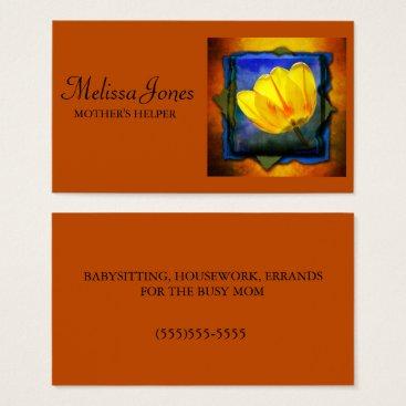 Burnt Orange and Floral Mother's Helper Business Card