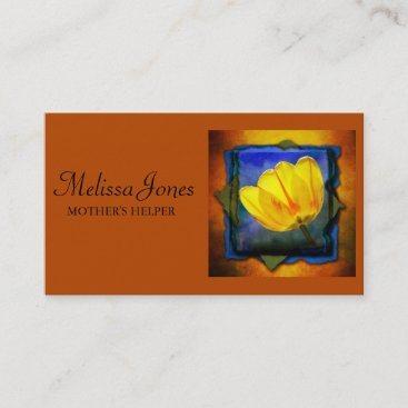 Burnt Orange and Floral Mother's Helper Calling Card