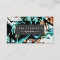 Burnt Orange and Jade Green Geometric Pattern Business Card
