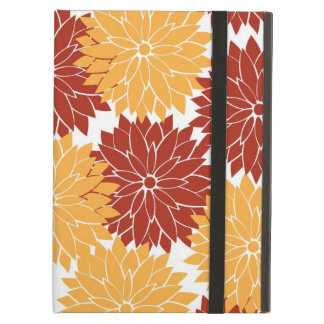 Burnt Orange and Orange Flower Blossoms Floral Cover For iPad Air