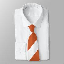 Burnt Orange and White Broad Regimental Stripe Tie