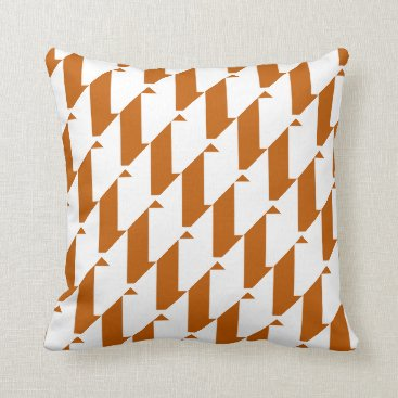 Aztec Themed Burnt Orange and White, modern harlequin design Throw Pillow