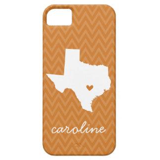 Burnt Orange and White Texas Love Chevron Monogram iPhone SE/5/5s Case