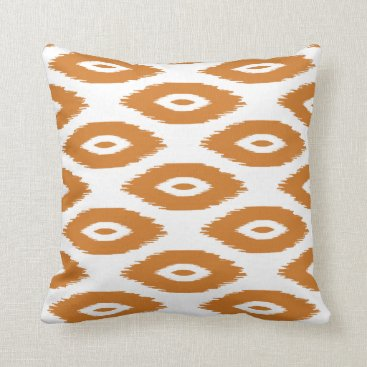 Aztec Themed Burnt Orange and White Tribal Ikat Dots Throw Pillow