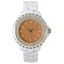 Burnt Orange and White Wrist Watch
