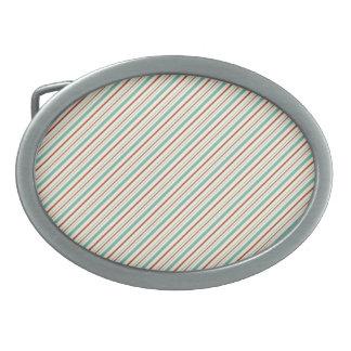 Burnt Orange Aqua Diagonal Stripes Fall Pattern Oval Belt Buckles