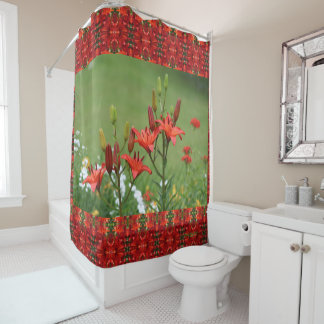 Burnt Orange Asiatic Lilies Gloriosas Daisies Shower Curtain