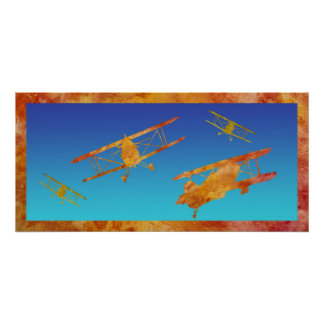 Burnt Orange Biplanes Poster