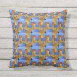 Burnt Orange Blue Gold Geometric Square Tile Outdoor Pillow