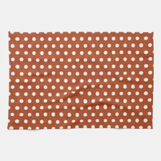 Burnt Orange - Brown and White Polka Dots Kitchen Towel