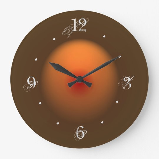 Burnt Orange Brown Illuminated Design Wall Clock